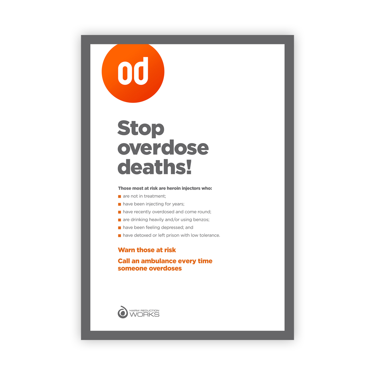 Stop overdose deaths poster