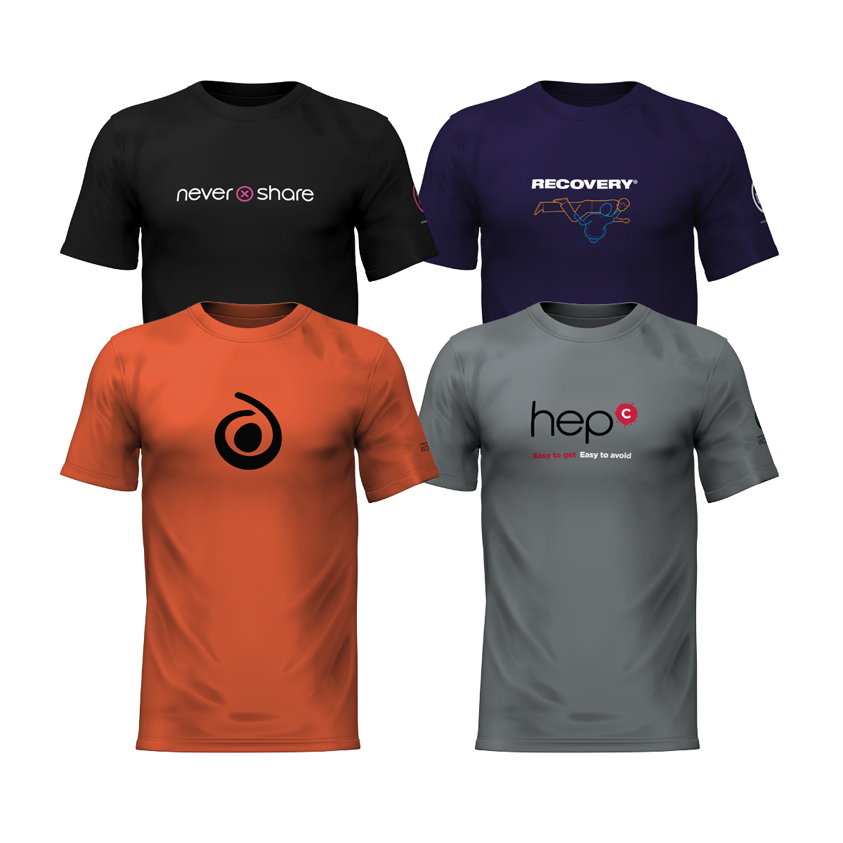 12 T-shirt pack: all 4 designs, mixed sizes