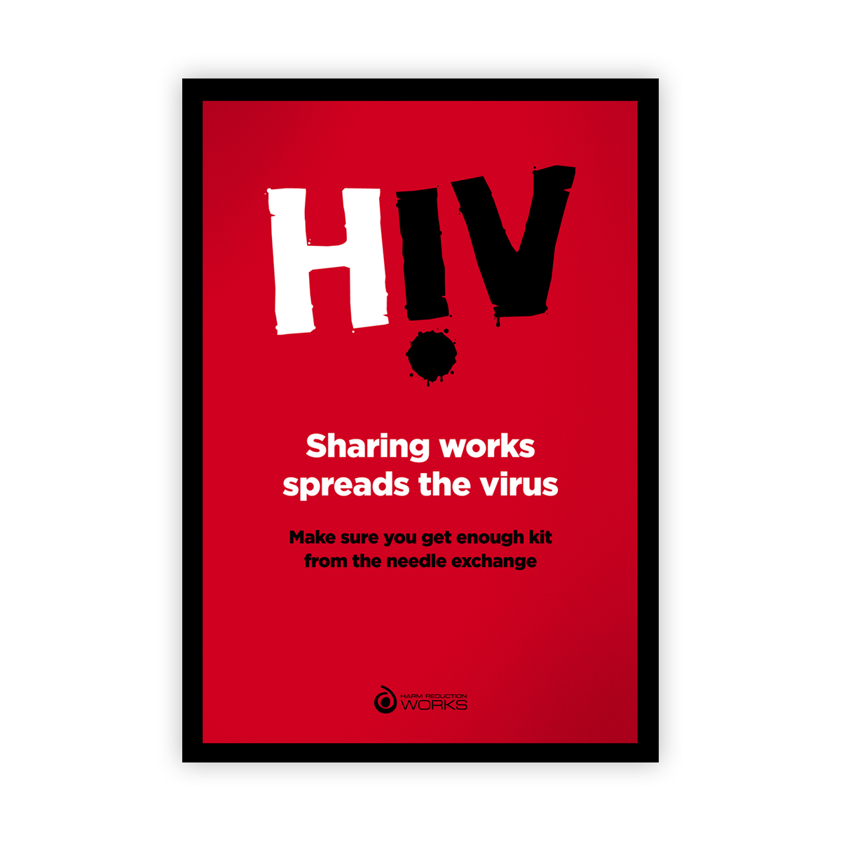 HIV poster: sharing works spreads the virus