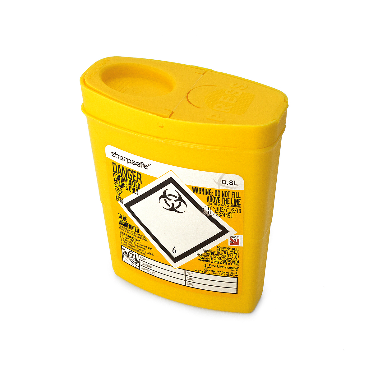 Frontier 0.3 litre Sharpsafe (yellow)
