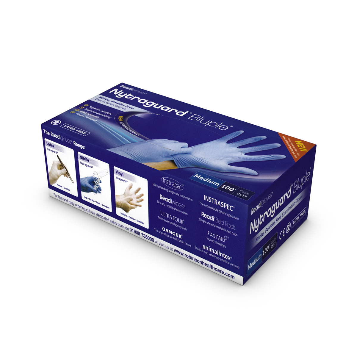 Bluple nitraguard medical gloves (medium)