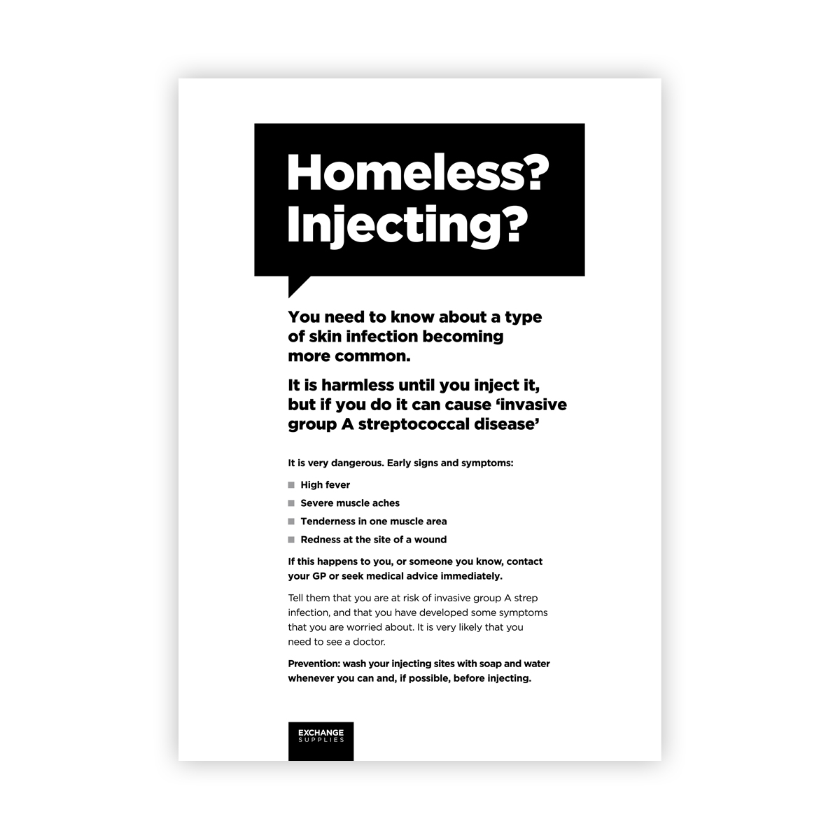 Poster for homeless injectors
